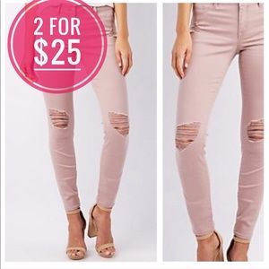 Refuge pink ripped stretchy pants size 0 new